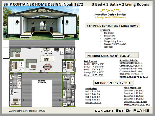Shipping Container Home plans: 3 Bed 3 Bath    1272 NOAH