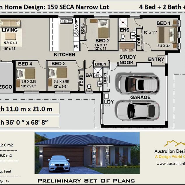 Narrow Lot 4 Bedroom House Plan159 Seca