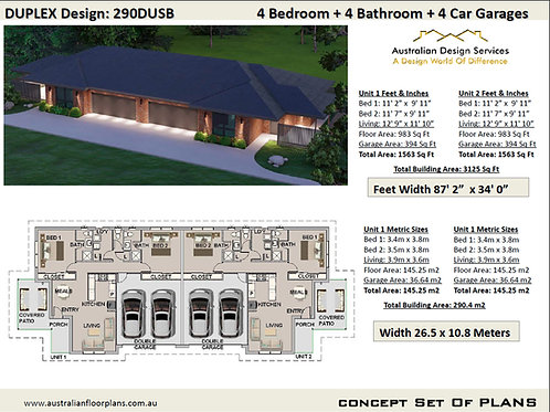 Duplex House Plans Design 290.4 DUSB | 4 Bedroom + 4 Car Garage