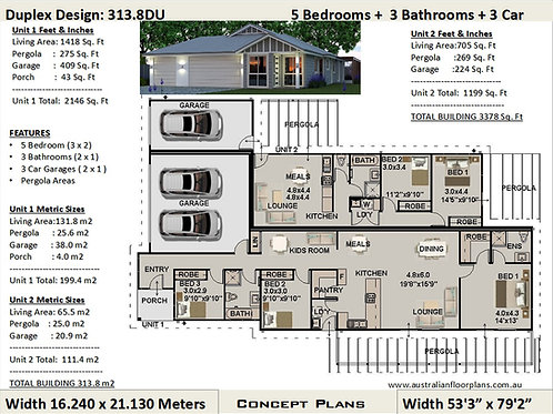313.8LH Dual Key Roof 5 Bed + 3 Bath + 3 Cars Design - Concept Plans