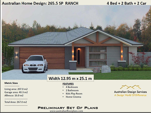 4 room house design Ranch Style | 4 Bedroom : 265.0 m2  |265.5SP