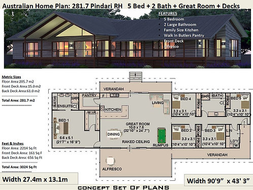 5 Bedroom country home : 281.7m2 Pindara DesignRH| Preliminary House Plans