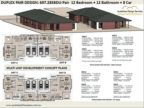 Duplex Design: 697.28SBDU-Pair - 12 Bedroom + 12 Bathroom + 8 Car