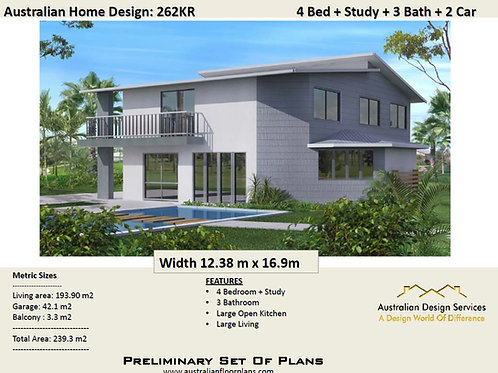 Modern 2 two storey residential house floor plan  | 262 KR House Plans