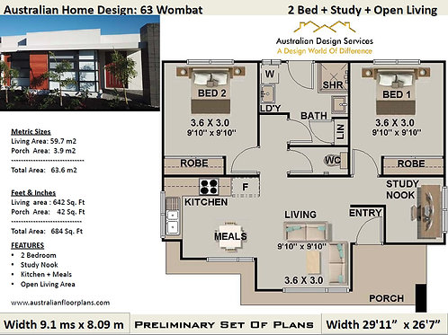 63.6 Wombat-Modern 2 Bedroom House Plan:63.6 m2 | Preliminary House Plan Set