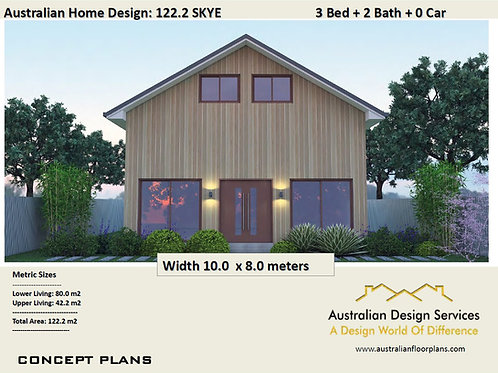 122.2 Skye Barn |  2 Storey 3 Bed + 2 Bath :122.2 m2  | Preliminary House Plan