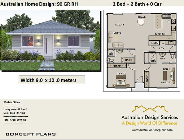 2 Bedroom Granny Flat House Plan90GRRH (