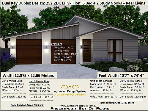 House Plans Duplex Dual Key 252.2DKLH Skillion Roof 5 Bed + 3 Bath + 2 Study