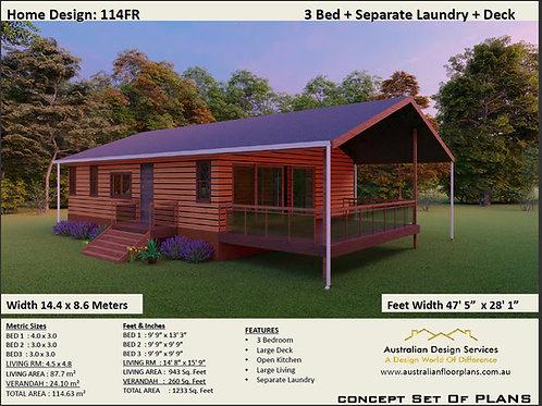 114FR Australian 3 Bedroom House Plan: 114.63 m2 | Preliminary House Plan Set