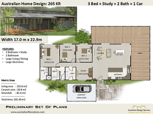 265 KR Country 3 Bed + Study House Plan : 153.26 m2 | Preliminary House Plan
