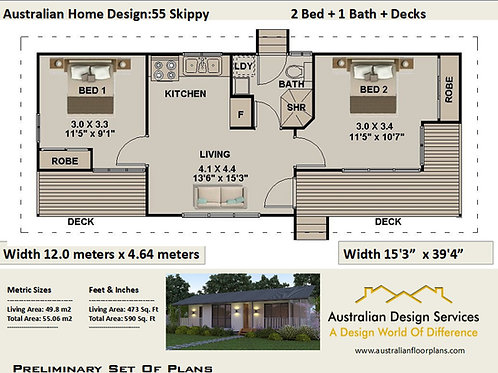 55 Skippy | 2 Bed House Plan- 55.0 m2 | Preliminary House Plan Set-4 Sale