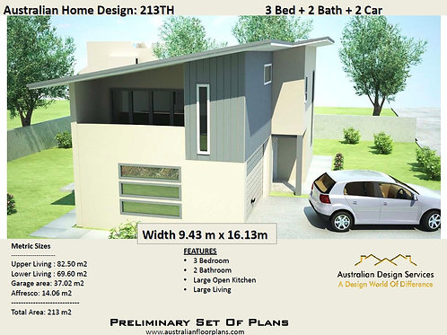 213 TH | Narrow Lot 2 Storey 3 Bed + Study :213.67 m2  | Preliminary Hou