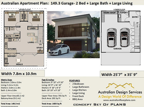 2 Bed + Study Garage Apartment House Plan:149.3 | Preliminary House Plan Set