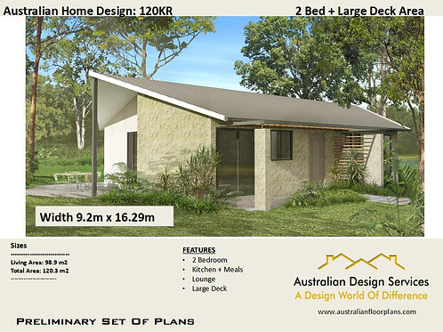 120KR-Australian 2 Bed House Plan:120.3 m2 | Preliminary House Plan Set