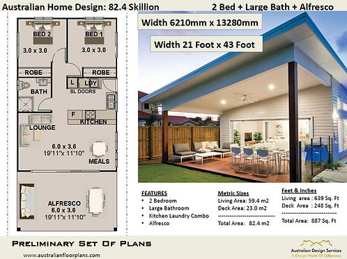 82.4-Skillion 2 Bed House Plan:82.4 m2 | Preliminary House Plan Set Buy Sale