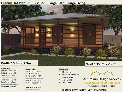 Homestead Granny Flat 2 Bed House Plan: 78.8 m2 | Preliminary House Plan Set