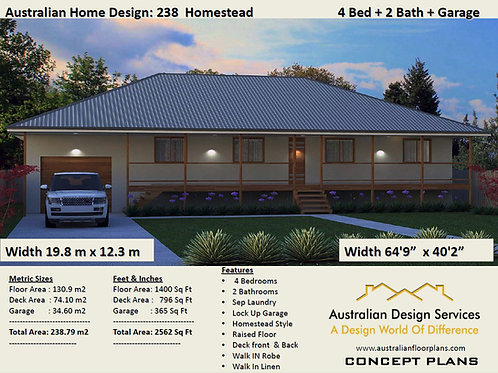238HS | Modern Homestead 4 Bed + Garage:238.0 m2  | Preliminary House Plans