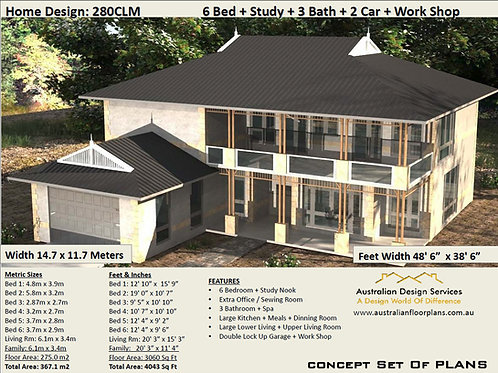 280 CLM | 2 Storey 6 Bed+Study+2 Car:  351.3 m2 | Mid Century house plans