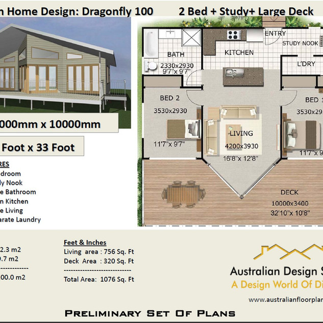 100dragon-Free 2 Bed House Plan Australia