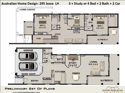 295 CLM   Narrow 2 Storey 3 or 4 Bed+3 Bath+2 Car: 295.0 m2    Preliminary Plans