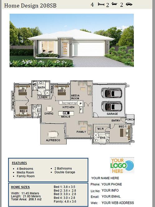 4 Bedroom Narrow Home Design: 208SB