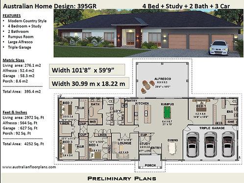 395 GR - 4 Bed Acreage Home : 395.4 m2 | Preliminary House Plans