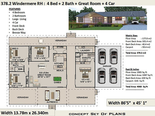 sloping site house designs - 4 Bedroom :378m2 or 4068 sq feet  