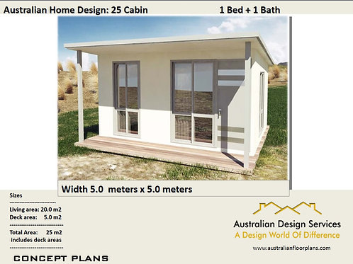 25 Cabin - 25 m2 | 1 Bedroom Cabin | Preliminary House Plan Set For Sale