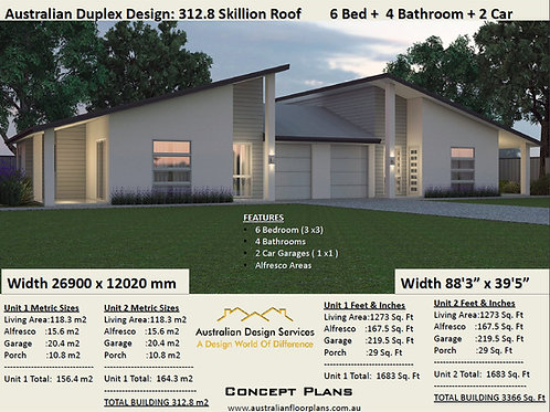 Skillion Roof 6 Bed + 4 Bath + 2 Cars Duplex Design Australia - Concept Plans
