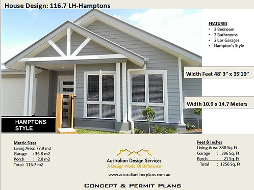 2 Bedroom House Plan :16.7 Hampton's