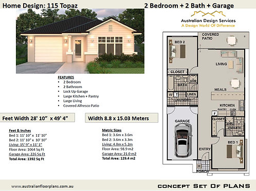 2 Bed + 2 Bath Small House Plan:115 Topaz LH | Concept House Plan Set