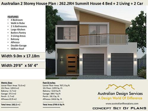 4 bedroom 2 story house plan |  262.2RH  2 Storey 4 Bed+ 2.5 Bath | Narrow Lot