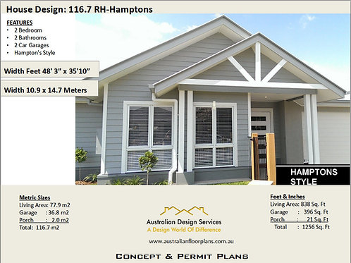 Hamptons Style 2 Bed + Double Garage House Plan 116.7 RH | House Plan Set