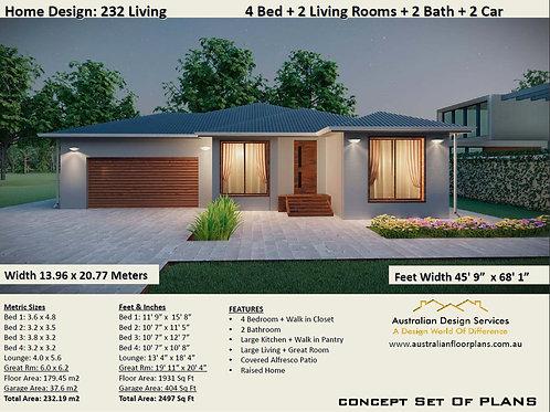 4 bedroom modern house:232 LIVING