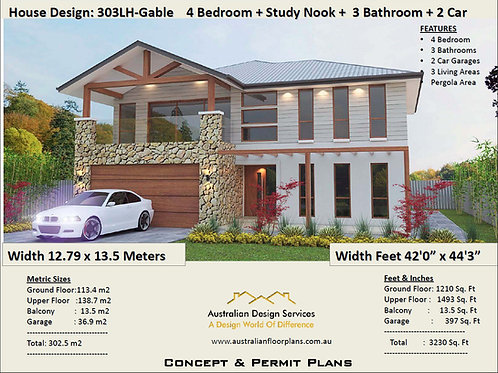 2 Storey House Plan 303 LH | Ranch 2 Storey 4 Bed+Study: 302.5 m2 | 3230 Sq Foot