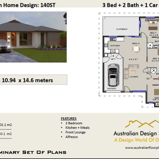 3 Bedroom + Garage Plans140ST