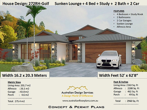 4 bed house plans single story | 4 Bed + Study : 275 m2 - 272Golf