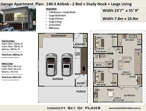 Airbnb 2 Bed + Study Garage Apartment House Plan:149.3m2 | Concept House  Plan