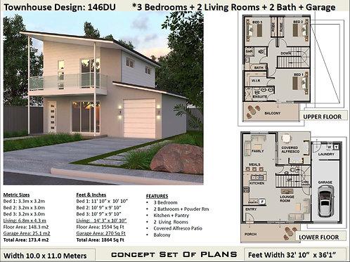 146 DU | Narrow Lot 2 Storey 3 Bed + 2 Bath :146.3 m2  | Preliminary House Plans