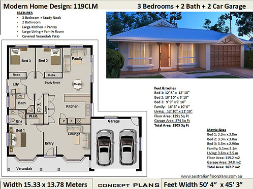 3 Bed + Study Nook + Double Garage Plan House Plans 119 CLM - For Sale