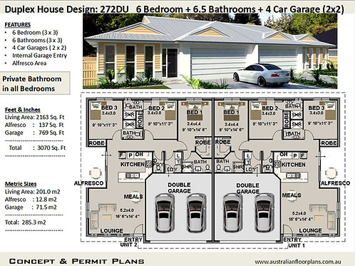 Duplex Design Australia 272du - 6 Bed + 6 Bath + 4 Cars - Concept House Plan