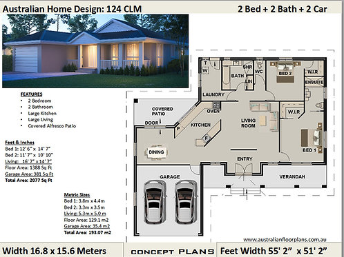 124 CLM-2 Bed + 2 Bath + Double Garage:193.07 m2 | Preliminary House Plan Set