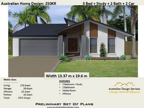 250KR | 3 or 4 Bedroom + Media Rm: 250..6 m2  | Preliminary House Plans