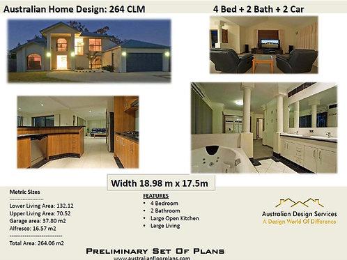 264 | Modern 2 Storey 4 Bed+3 Bath+2 Car: 264.06 m2 | Preliminary House Plans