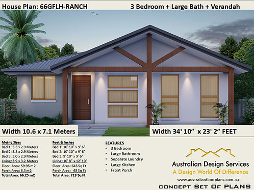 66GRLH- Small 3 Bedroom House Plan:66.5 m2 | Preliminary House Plan Set
