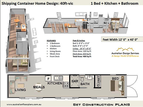 40 Foot Shipping Container Home Plan:40ft -VIC | Construction Set of Plans