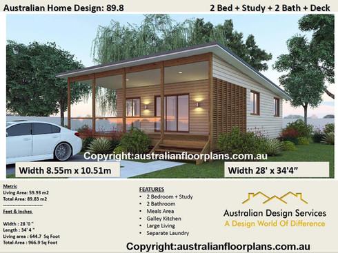 2 bedroom + 2 Bathrooms Home Design
