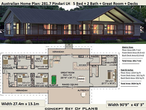 5 Bedroom country home : 281.7m2 Pindara Design  | Preliminary House Plans
