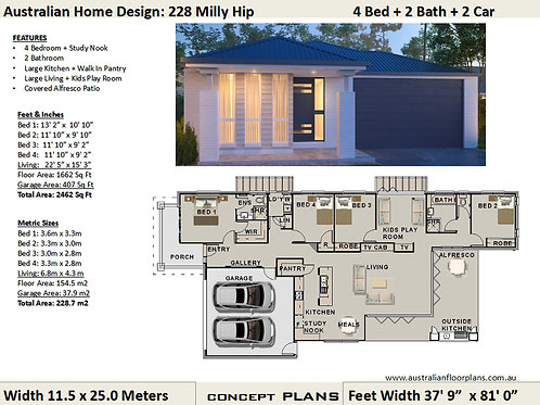 Narrow Lot Modern 4 bedroom house plans | 228 Milly Hip