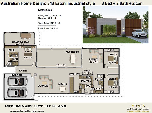 343 EATON - 3 Bed Home + Home Studio : 343.0 m2 | Preliminary House Plan